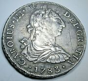 1783 Spanish Peru Silver 8 Reales Antique 1700's Old Colonial Dollar Pirate Coin