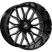4new 24x12 Axe Compression Forged 6.0 Black Milled Wheels 8x6.5 Dodge Chevy