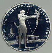 1980 Moscow Russia Olympics Vintage Archery Proof Silver 5 Rouble Coin I93768
