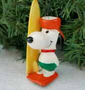 Snoopy Surfing Surfboard Porcelain Christmas Ornament 1966 Japan