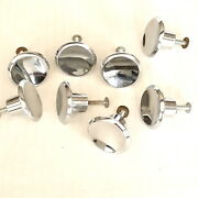 Lot Of 8 Mcm Concave Chrome Drawer Pulls Knobs With Mounting Screws Mid Century