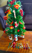 Vintage 21andrdquo Artificial Christmas Tree And Lot Ornaments Paper Wood Glass