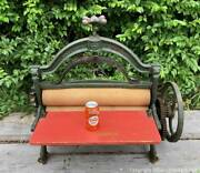 Antique Victorian Steampunk Ornate Cast Iron Clothes Mangle Wringer Works Heavy