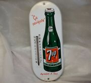 Vintage 7up Porcelain Advertising Thermometer Stamped 1960and039s