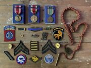 Wwii Us Army Airborne Lot - 82nd 17th Patches Medals Ribbons Badge Jr Gaunt Eame