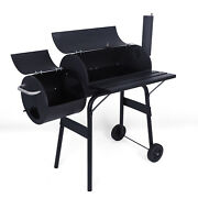 Charcoal Barbecue Grill With Offset Smoker/wheels/temperature Gauge For Cooking