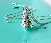 And Co Enamel Christmas Tree Love Charm 18 Necklace Silver Gift W Box 729