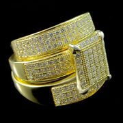 His Her Diamonds Trio Sets Wedding Band Engagement Rings Yellow Gold Over