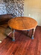 Antique Round Dining Room Table - Walnut - Maple