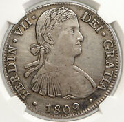 1809 Moth Mexico Spain King Ferdinand Vii Old Silver 8 Reales Coin Ngc I94019