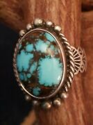 Navajo Red Lip Bisbee Turquoise Sterling Silver Ring Signed Delvin John Size 10