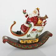 Sterling 13 Rocking Sleigh With Santa Claus Christmas Table Top Decoration