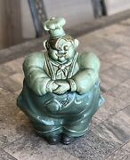 Vintage Red Wing Pierre Chef Green Glaze Pottery Cookie Jar 1940s Htf