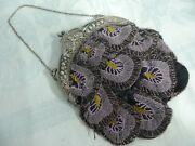 Victorian Beaded Purse W/gorgeous Silver Cupid Frame And Chain Handle