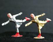 Vintage Barclay Set Of 2 Painted Lead Metal Girl Ice Skaters One Gold One Silver