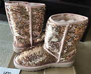 New Ugg Classic Short Sequins Boots, Stunning Rose Gold Color Women's Size 7