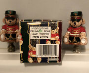 2 Christmas Holiday Lamp Light Finials Topper Drummer Bear - One With Box