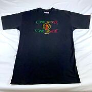 Rare Bob Marley One Love One Heart Single Stitch Embroidered Vtg T Shirt Size L