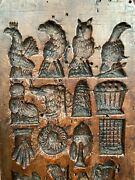 Antique Belgian Springerle Chocolate Carved Wood Mold Butter Candy Birds Animals