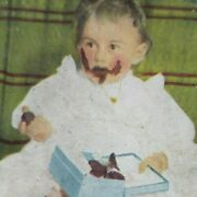 Chocolates Box Little Girl Bon Bons Dirty Face Covered 1898 Stereoview B126