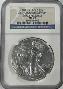 2011-s Early Releases Silver Eagle 25th Anniversary Set Ngc Ms70 S Mint Mark