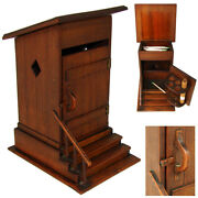 Delightful Antique French Carved Wood Smoker's Box, Cigar Presenter, An Outhouse