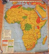 Atwood School Map Africa 1950 Cotton Back 44 By 52 Vintage Antique Guc