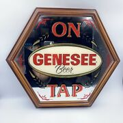 Vintage Genesee Beer On Tap Mirror Sign Wood Frame By Signs And Glassworks