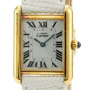 Must Tank Vermeil Gold Plated Leater Quartz Mens Watch W1018587 Bf532738