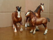 3 Breyer Clydesdale Family Stallion 80  Mare 83  And  Foal 84 Vintage Set