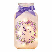 Frosted Butterfly Wreath Mason Jar With Lights