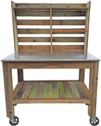 Potting Bench With Hardware Hooks Towel Bar - Buffet Table Island Workbench Ou