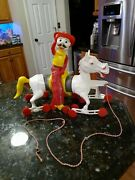Mr. Cowboy Vintage Slinky Pull Toy Wiggle On Horse Rare