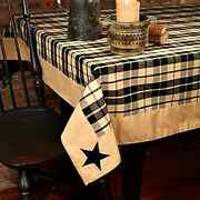 New Country Farmhouse Black And Tan Plaid Embroidered Star Table Cloth Cover