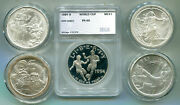 4 One-troy Oz. Silver Rounds And 1 Pr-69 90 Com. Dollar