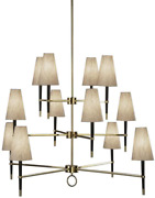 Robert Abbey 674 Chandeliers With Natural Linen Shades Ebony Wood/antique Brass