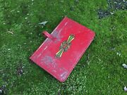 Vtg Antique Red Metal Tin Book Journal Diary Candle Holder Box Case Stash Box