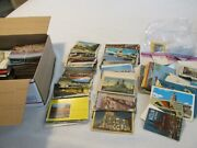 Lot Of 850 Vintage Post Cards And Souvenir Packs Many Linen Used And Unused