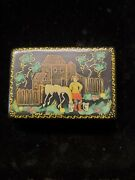Russian Enamel Box Featuring Farm Girl And Horse 2.75×1.5×.75apx Wb1