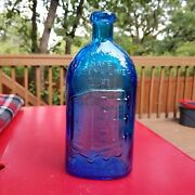 9 Vintage Wheaton Blue Glass Safe Liver And Kidney Cure Rochester Ny Bottle