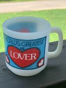 Vintage Glasbake Mug Or Cup World's Greatest Lover Good Condition