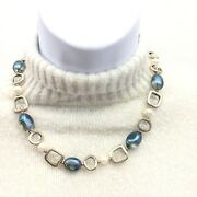 Art Glass And Faux Pearl Choker Necklace, 16, Blue Clear Beads, Costume Jewelry