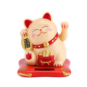 Lucky Cat, Waving Cat Good Luck Coming Solar Powered For Home Office Decoration