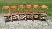 Antique Set Of 6 Press Back Kitchen Chairs