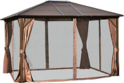 Outsunny 12and039 X 10and039 Outdoor Hardtop Canopy Patio Gazebo With Steel Roof Aluminum