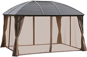 Outsunny 10and039 X 13and039 Aluminum Frame Hardtop Patio Gazebo Outdoor Canopy With Mesh