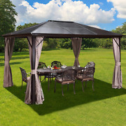 Yoleny 10and039x12and039 Outdoor Hardtop Polycarbonate Gazebo Canopy Curtains Aluminum Fra