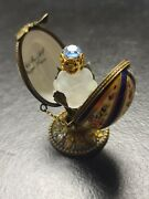 Early Peint Main Af Limoges Crystal Perfume Enamel Egg Butterfly 3 Wd1