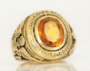 Antique Wwii Era Menand039s 14k Yellow Gold Air Force Military Ring Orange Stone 13g