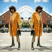 Nwt New With Tags Free People Bryant Velvet Trench Coat Gold Gorgeous Rare